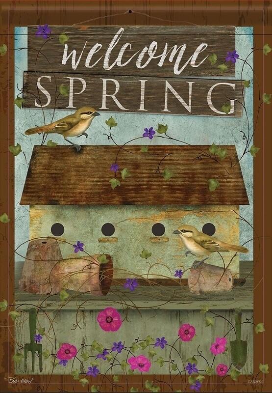 """Welcome Spring Birdhouse - Green - """"Welcome Spring"""" - Garden Flag - 12.5 """" x 18"""""""