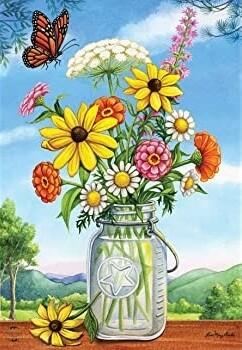 """Sunshine Bouquet - Flowers in Jar - Garden Flag - 12.5 """" x 18"""""""