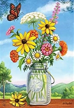 Sunshine Bouquet - Flowers in Jar - Garden Flag - 12.5