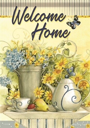 "Tea Time - 'Welcome Home' - Garden Flag - 12.5 "" x 18"""