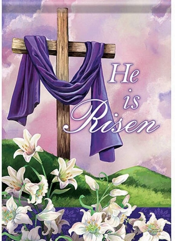 "Holy Times - Easter - Cross with Lillies - ""He is Risen"" - Garden Flag - 12.5 "" x 18"""