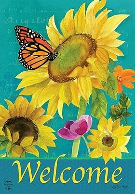 "Monarch and Sunflowers - Butterfly - Garden Flag - 12.5 "" x 18"""