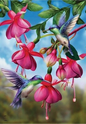 Flight of the Hummingbirds - with Fushia Flowers - Garden Flag - 12.5