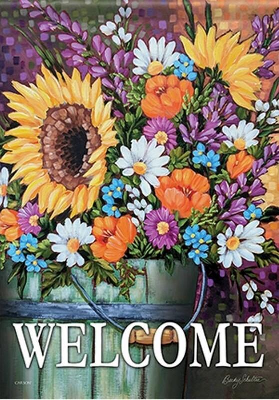 """Wildflower Bucket - """"Welcome"""" - with Sunflower - Garden Flag - 12.5 """" x 18"""""""