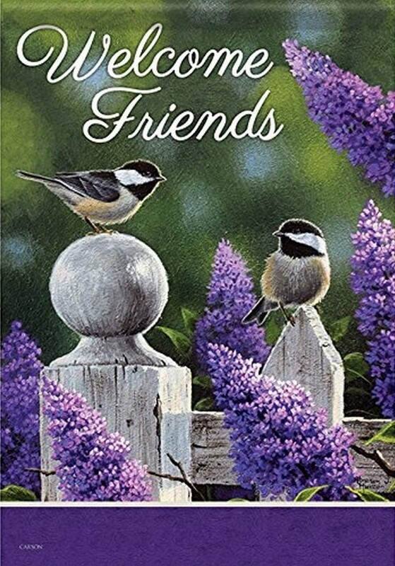 "On the Fence - Chickadees and Lilacs - Welcome Friends - Garden Flag - 12.5 "" x 18"""
