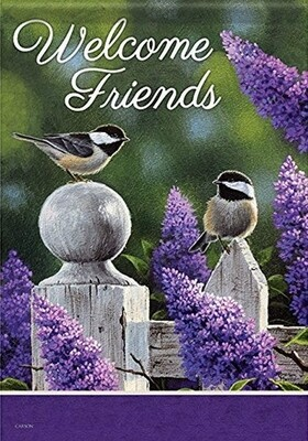On the Fence - Chickadees and Lilacs - Welcome Friends - Garden Flag - 12.5