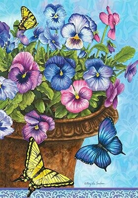 Pansies - in Pot with Butterflies - Garden Flag - 12.5