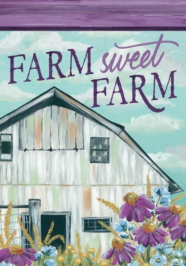"""Floral Barn - """"Farm Sweet Farm"""" - Garden Flag - 12.5 """" x 18"""""""