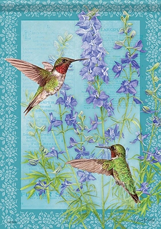 "Botanical Larkspur - with Hummingbirds - Garden Flag - 12.5 "" x 18"""
