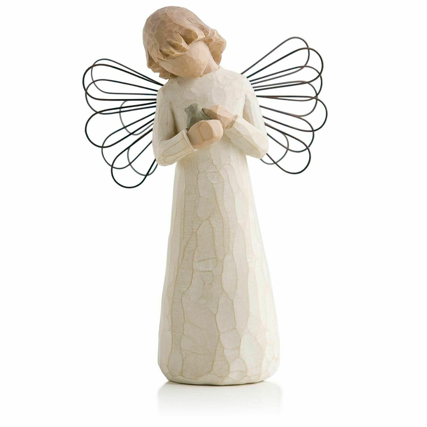 Angel of Healing - Holding Little Bird - Wire Wings