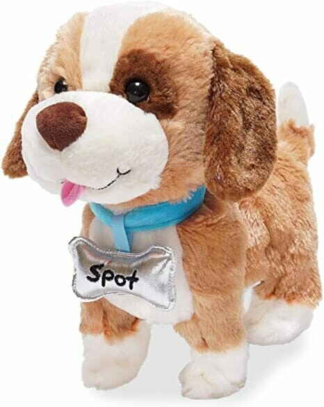 My Favourite Pet Spot - Puppy Dog - Goldy Brown, Dark Brown and Cream - Playful Phrases when Petted - Moves and Walks