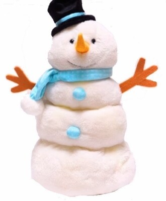 Melty Snowman, blue scarf and top hat - sings Frosty the Snowman and moves up and down.