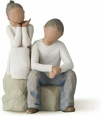 Brother and Sister - Girl Kneeling and Boy Sitting on Rock
