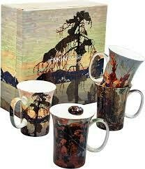 Tom Thomson - Canadian Artist - Set of Four Fine Bone China Mugs in Collector Box