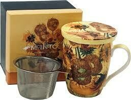 Van Gogh - Sunflowers - Single Fine Bone China Tea Mug/Cup in Collector Box - with Lid and Strainer