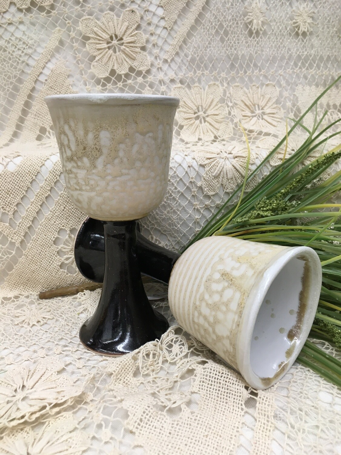 Goblet - Wine Glass, Cream Ash - Parsons Dietrich Pottery - Canadian Handmade