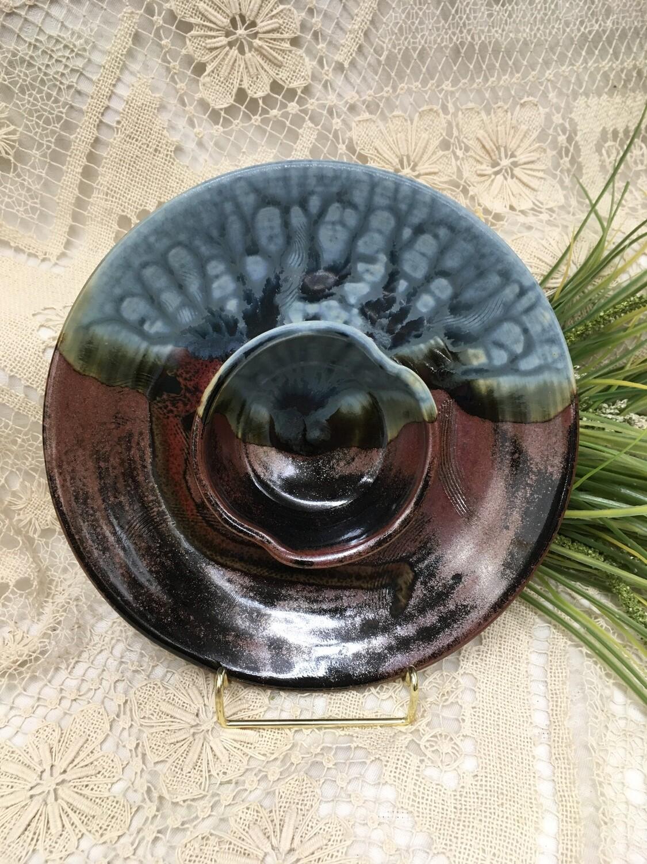 Small Chip n Dip / Shrimp Dish, Blue Ash - Parsons Dietrich Pottery - Canadian Handmade