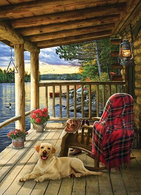 Tray Puzzle, Lake Cabin Labrador - 35 pieces - Cobble Hill