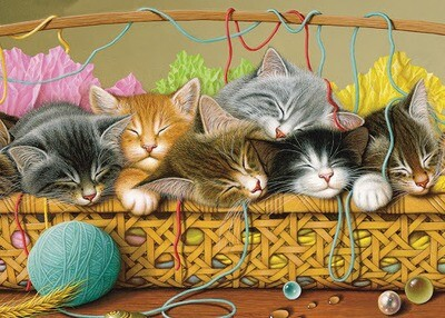 Tray Puzzle, Kittens in Basket - 35 pieces - Cobble Hill