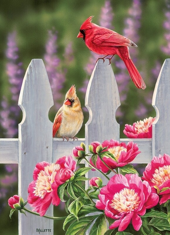 Cardinals and Peonies - 1000 Piece Cobble Hill Puzzle