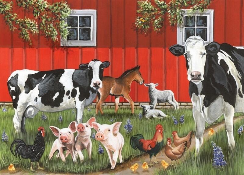 Tray Puzzle, Red Barn Farm - 35 pieces - Cobble Hill