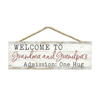 Wood Word String Sign - Welcome to Grandma and Granpa's  Admission: one hug - P.G. Dunn Designs