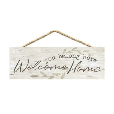 Wood Word String Sign - Welcome Home, You Belong Here - P.G. Dunn Designs