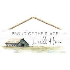 Wood Word String Sign - Proud of the Place I call Home - P.G. Dunn Designs
