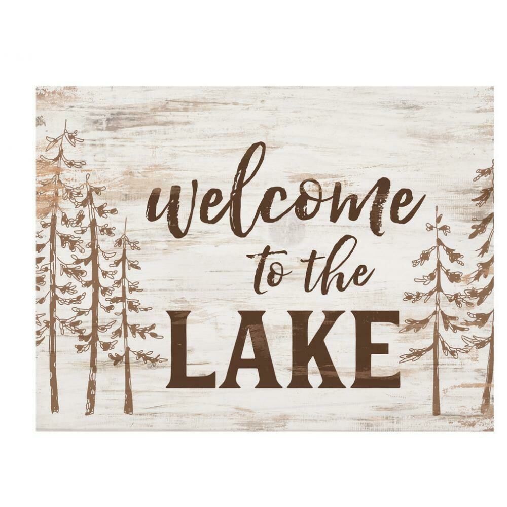 Wood Word Block - Welcome to the Lake - 7 x 5 inches - P.G. Dunn