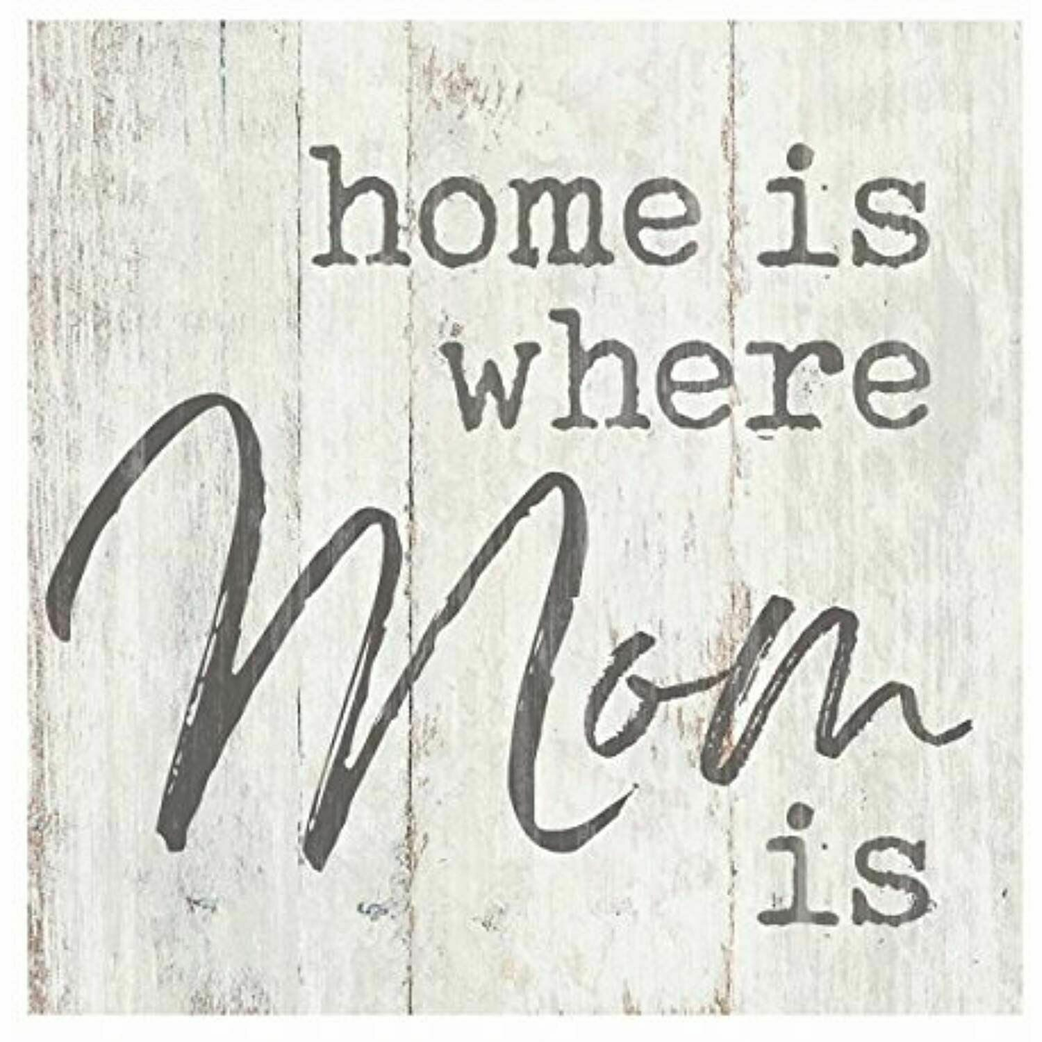 Wood Word Block Sign Small - Home is where Mom is- 3x3 inches - P.G. Dunn