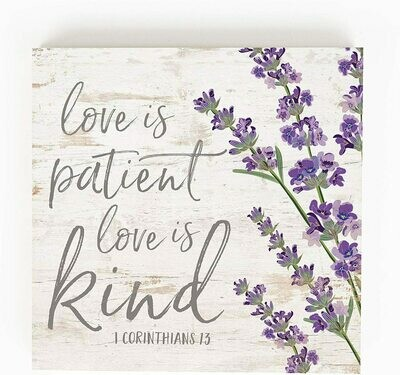 Wood Word Block Medium - Love is Patient, love is kind - 5.5 x 5.5 inches