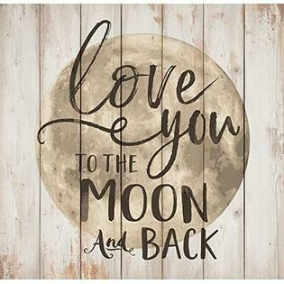 Wood Word Block Mediium - Love you to the Moon and Back - 5.5 x 5.5 inches - P.G. Dunn