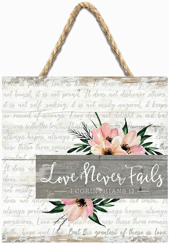 Wood Word Pallet String Sign - Love Never Fails - Corinthians - P.G. Dunn