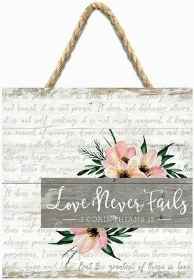 Wood Word Pallet String Sign - Love Never Fails - Corinthians - P.G. Dunn