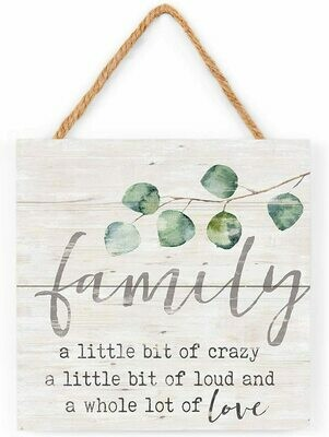 Wood Word Pallet String Sign - Family - a little bit of crazy.... - 7 x 7 inches - P.G. Dunn
