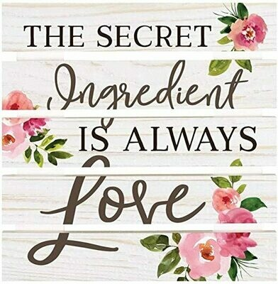 Trivet Wood Word Pallet Sign  - The Secret ingredient is always Love - 8.5 x 8.5 - P.G. Dunn
