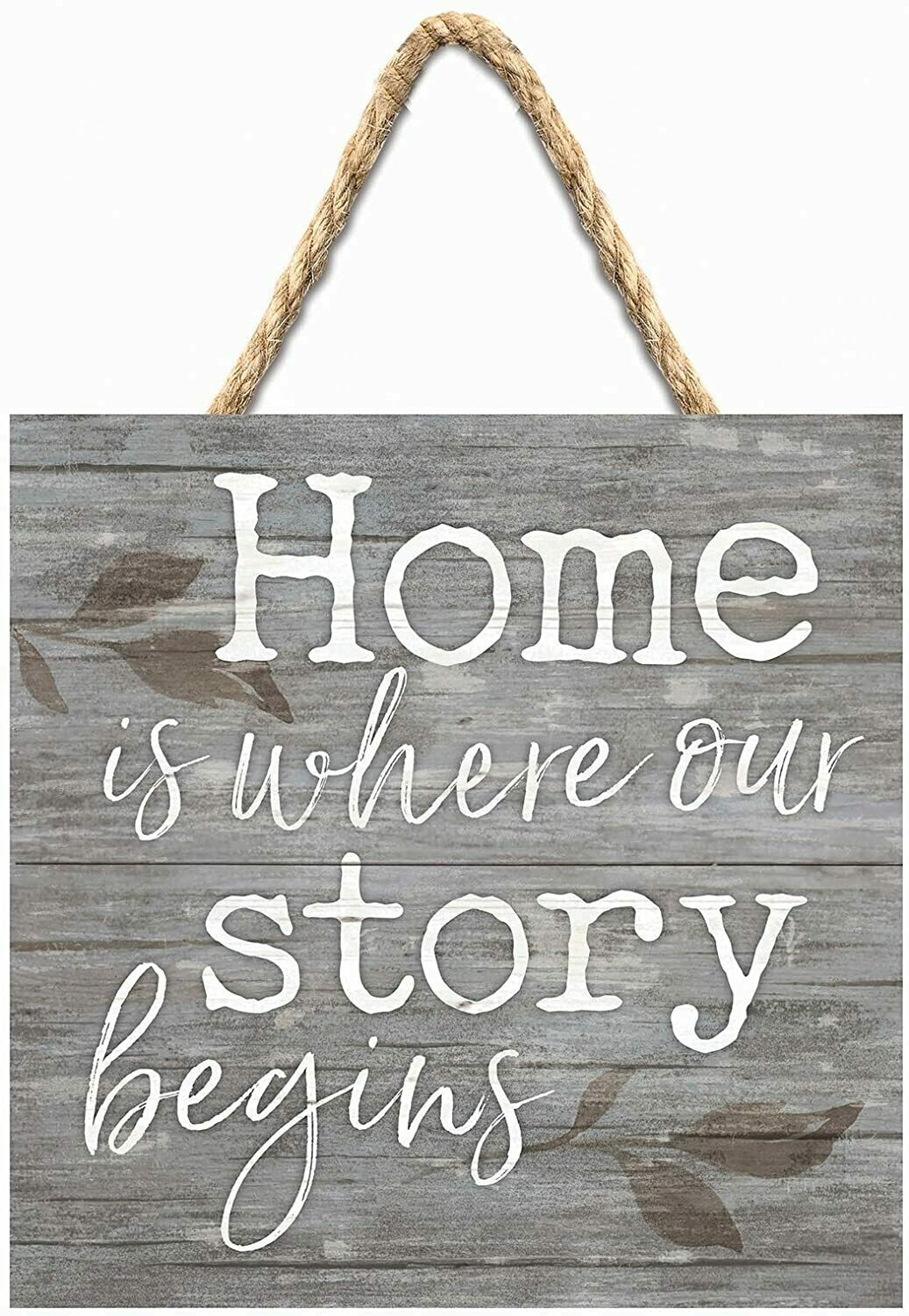 Wood Word Pallet String Sign - Home is where our Story Begins - 7 x 7 inches - P.G. Dunn