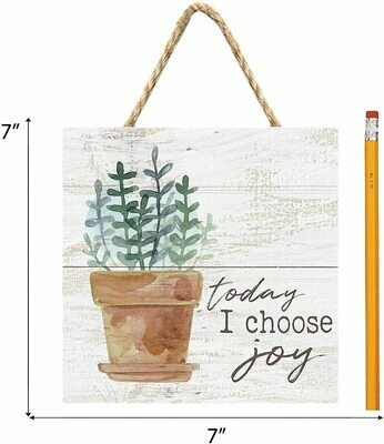 Wood Word Pallet String Sign - Today I choose Joy - 7 x 7 inches - P.G. Dunn