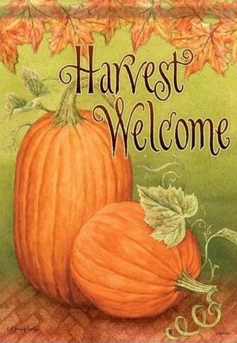 """Harvest Welcome Pumpkins - Fall - Garden Flag - 12.5 """" x 18"""""""