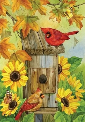 Cardinals and Sunflowers - Garden Flag - Fall - 12.5