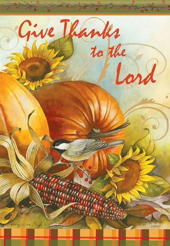 """Thanks to the Lord - Garden Flag - 12.5 """" x 18"""""""
