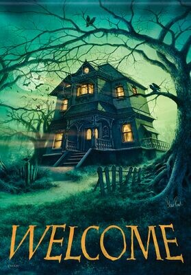 "Haunted House - Welcome - Halloween - Garden Flag - 12.5 "" x 18"""