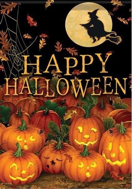 "Field of Jack-O-Lanterns - with Witch - ""Happy Halloween"" - Halloween - Garden Flag - 12.5 "" x 18"""