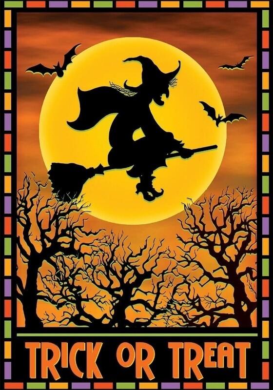 "Full Moon Witch - Garden Flag - Halloween - 12.5 "" x 18"""