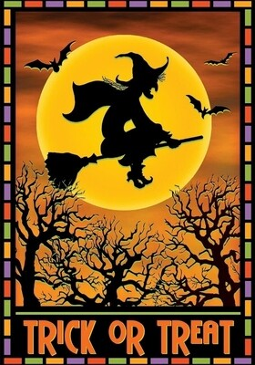 "Full Moon Witch - Garden Flag - Halloween - 12.5 "" x 18"""