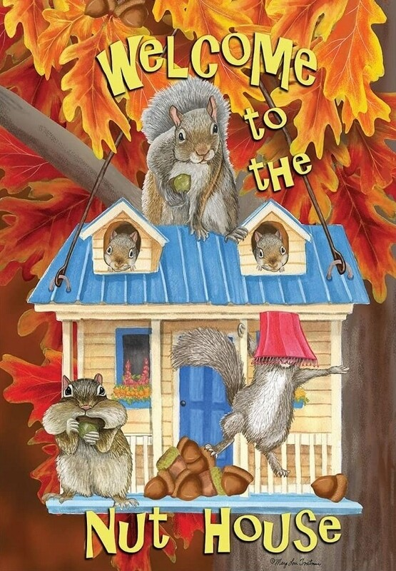 """Welcome to the Nut House - House Flag - Fall 28"""" x 40"""""""