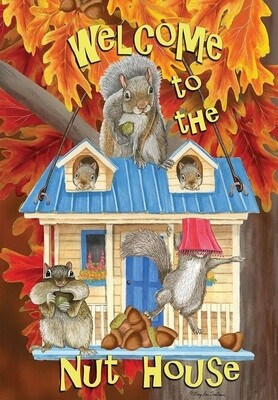 "Welcome to the Nut House - House Flag - Fall 28"" x 40"""