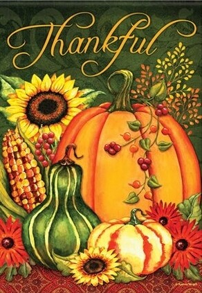 """Harvest Splendor - House Flag - Thankful  28"""" x 40"""""""