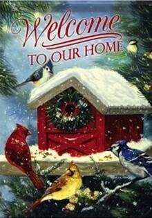 "Christmas Songbirds - with Birdhouse - ""Welcome to Our Home"" - Garden Flag - 12.5 "" x 18"""