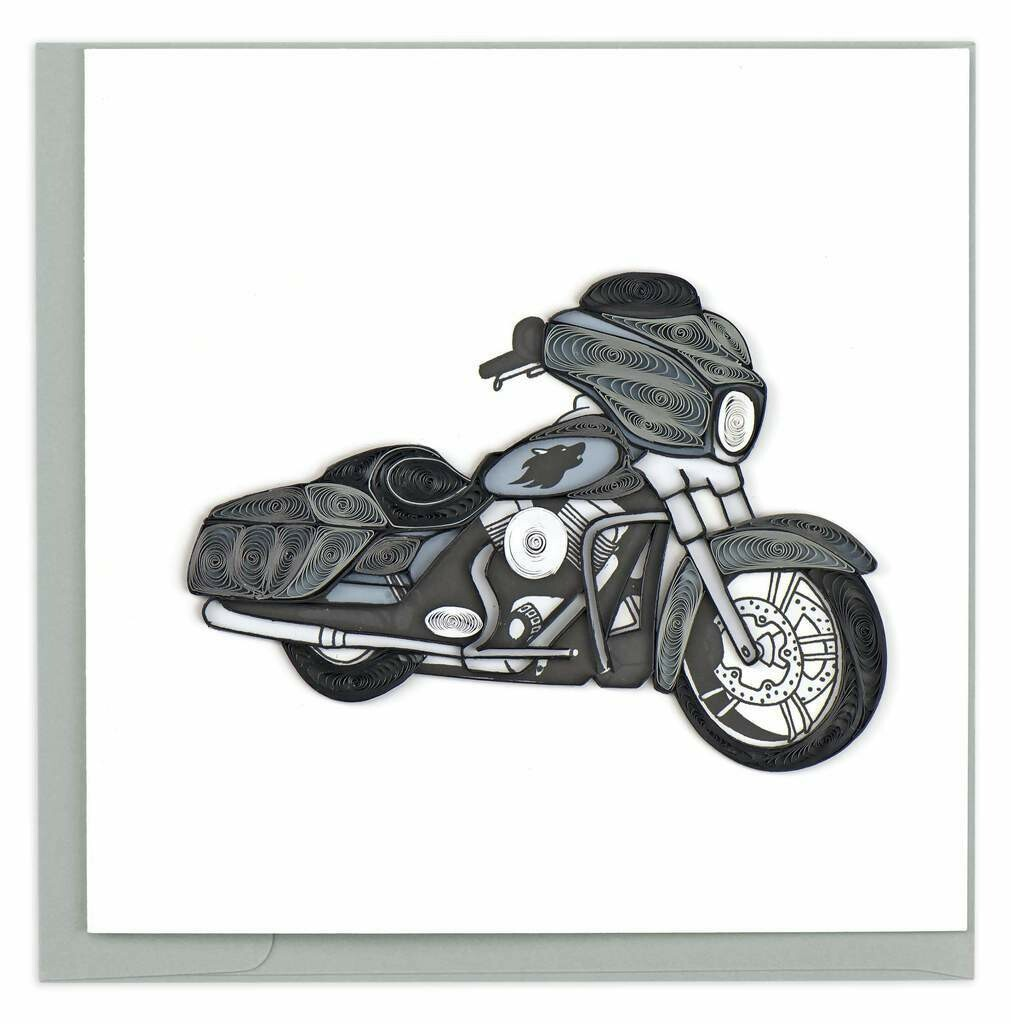 Quilling Card - Motorcycle - handcrafted - Blank inside
